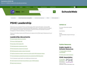 PSHE Schools Web Leadership Page